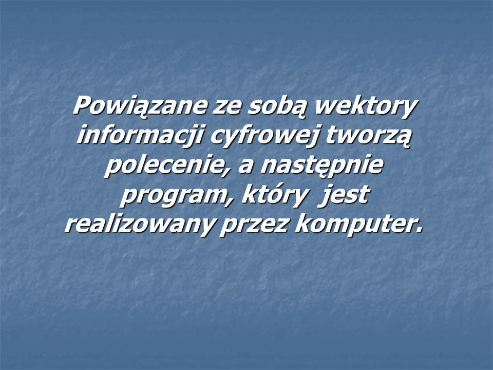 Powiązane ze sobą wektory informacji cyfrowej tworzą polecenie, a następnie program, który jest realizowany przez komputer. Powiązane ze sobą wektory