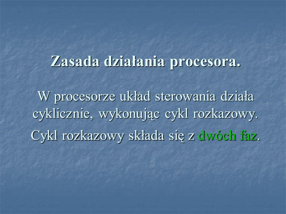 Zasada działania procesora. W procesorze układ sterowania działa cyklicznie, wykonując cykl rozkazowy. Cykl rozkazowy składa się z dwóch faz.