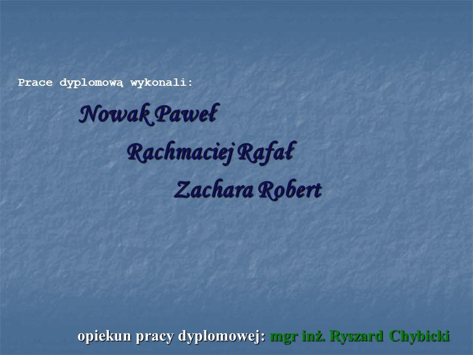 Nowak Paweł Rachmaciej Rafał Zachara Robert opiekun pracy dyplomowej: mgr inż. Ryszard Chybicki Prace dyplomową wykonali: