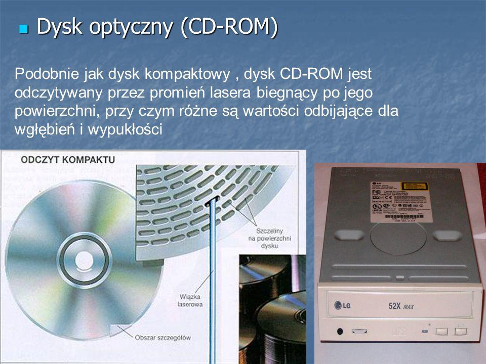 Dysk optyczny (CD-ROM) Dysk optyczny (CD-ROM) Podobnie jak dysk kompaktowy, dysk CD-ROM jest odczytywany przez promień lasera biegnący po jego powierz
