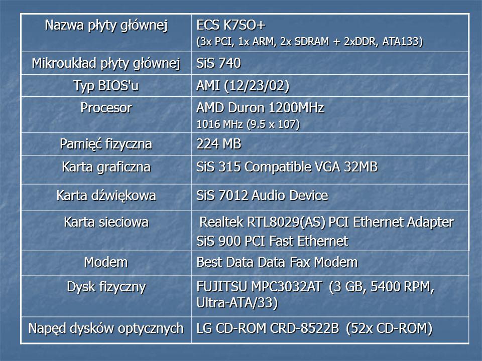 Nazwa płyty głównej ECS K7SO+ (3x PCI, 1x ARM, 2x SDRAM + 2xDDR, ATA133) Mikroukład płyty głównej SiS 740 Typ BIOS'u AMI (12/23/02) Procesor AMD Duron
