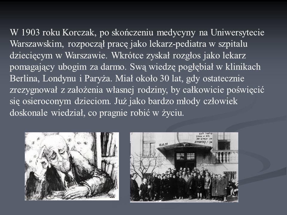 W 1903 roku Korczak, po skończeniu medycyny na Uniwersytecie Warszawskim, rozpoczął pracę jako lekarz-pediatra w szpitalu dziecięcym w Warszawie. Wkró