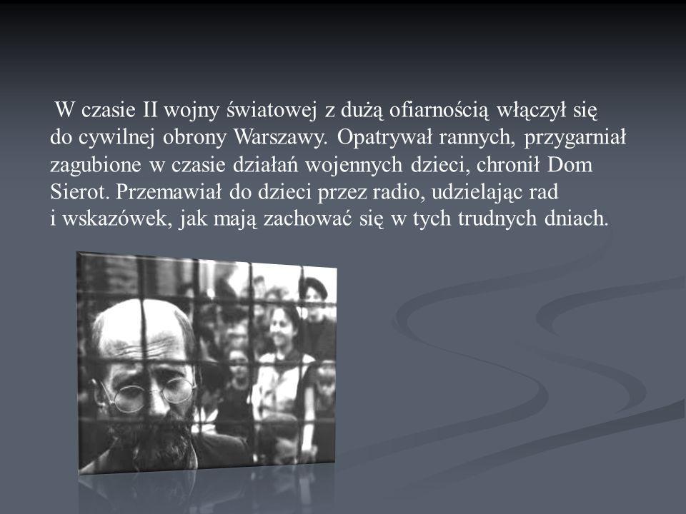 W czasie II wojny światowej z dużą ofiarnością włączył się do cywilnej obrony Warszawy. Opatrywał rannych, przygarniał zagubione w czasie działań woje