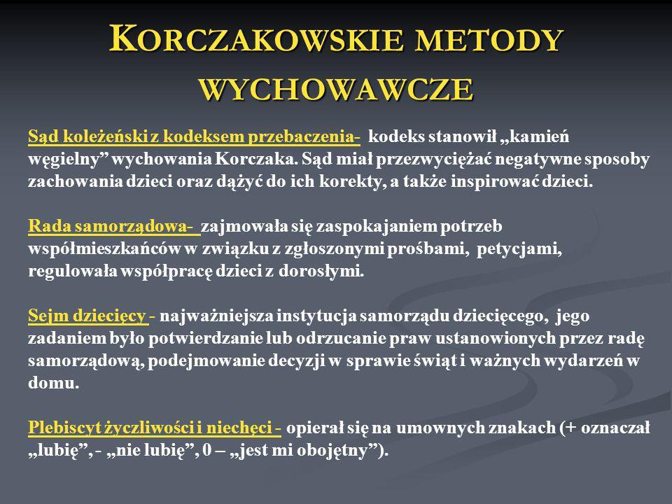 K ORCZAKOWSKIE METODY WYCHOWAWCZE Sąd koleżeński z kodeksem przebaczenia- kodeks stanowił kamień węgielny wychowania Korczaka. Sąd miał przezwyciężać