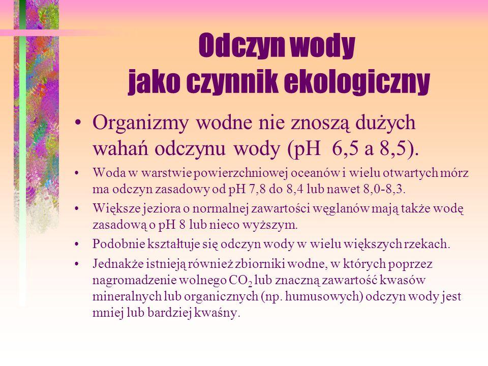 Odczyn wody jako czynnik ekologiczny Organizmy wodne nie znoszą dużych wahań odczynu wody (pH 6,5 a 8,5).