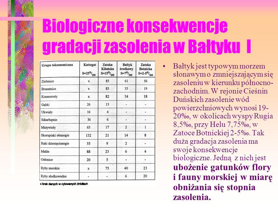 Biologiczne konsekwencje gradacji zasolenia w Bałtyku I Bałtyk jest typowym morzem słonawym o zmniejszającym się zasoleniu w kierunku północno- zachodnim.