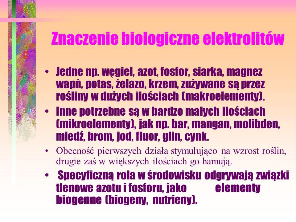 Znaczenie biologiczne elektrolitów Jedne np.
