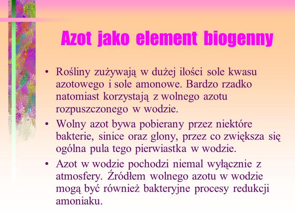 Azot jako element biogenny Rośliny zużywają w dużej ilości sole kwasu azotowego i sole amonowe.