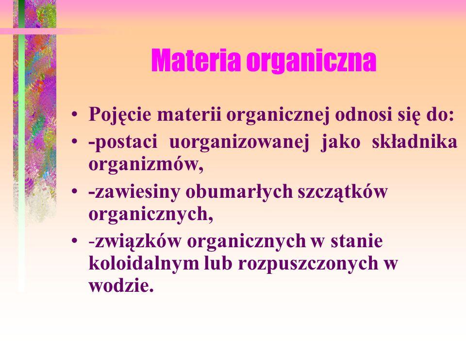 Materia organiczna Pojęcie materii organicznej odnosi się do: -postaci uorganizowanej jako składnika organizmów, -zawiesiny obumarłych szczątków organicznych, -związków organicznych w stanie koloidalnym lub rozpuszczonych w wodzie.