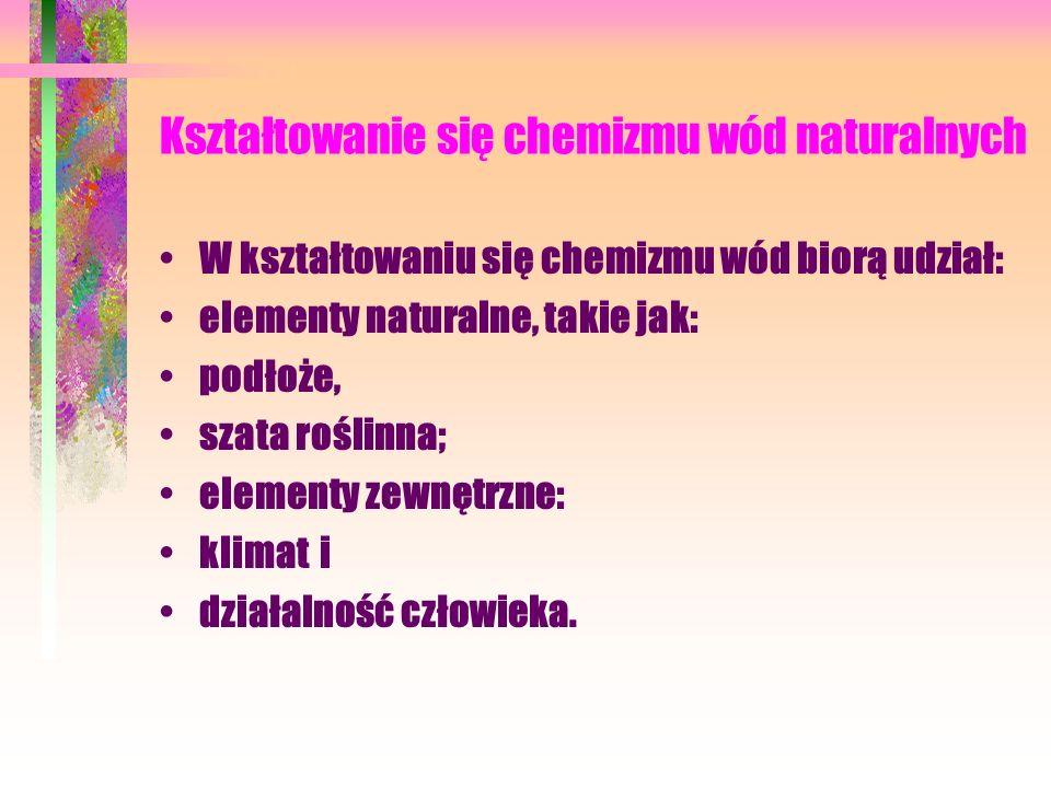 Kształtowanie się chemizmu wód naturalnych W kształtowaniu się chemizmu wód biorą udział: elementy naturalne, takie jak: podłoże, szata roślinna; elementy zewnętrzne: klimat i działalność człowieka.