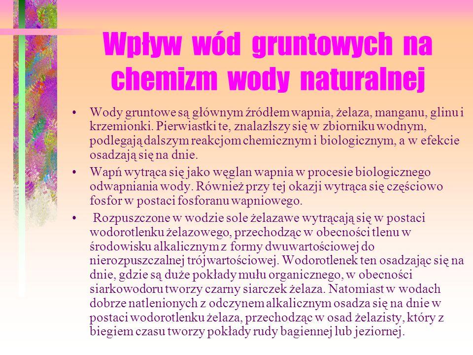 Wpływ wód gruntowych na chemizm wody naturalnej Wody gruntowe są głównym źródłem wapnia, żelaza, manganu, glinu i krzemionki.