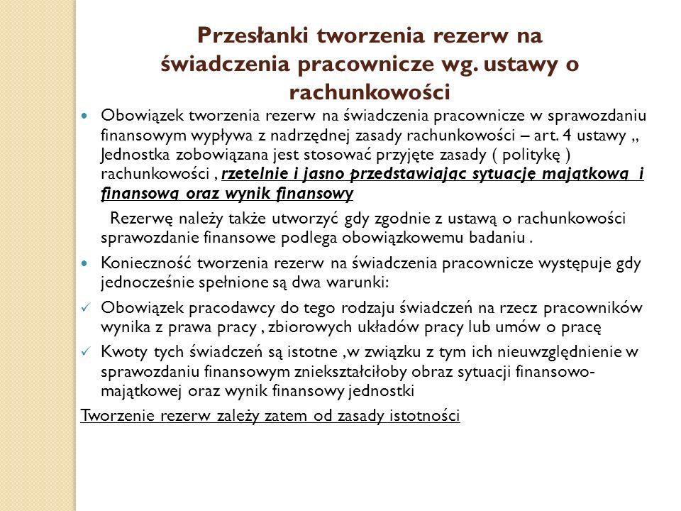 Przesłanki tworzenia rezerw na świadczenia pracownicze wg. ustawy o rachunkowości Obowiązek tworzenia rezerw na świadczenia pracownicze w sprawozdaniu