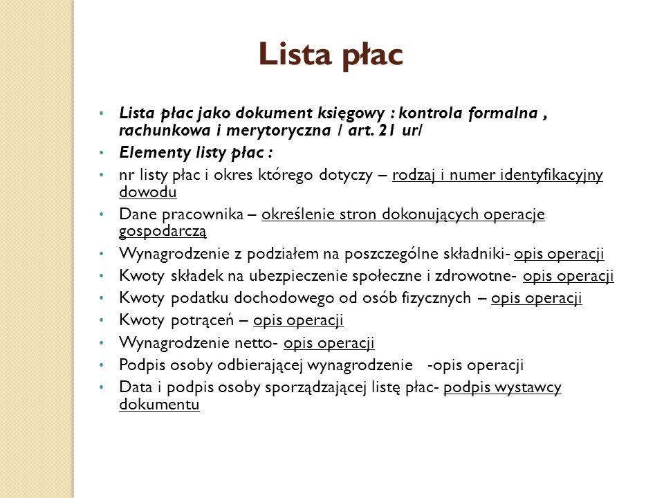 Lista płac Lista płac jako dokument księgowy : kontrola formalna, rachunkowa i merytoryczna / art. 21 ur/ Elementy listy płac : nr listy płac i okres