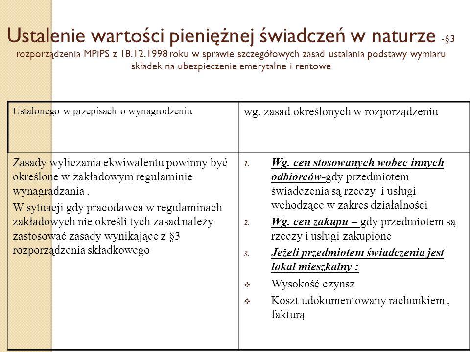 Ustalenie wartości pieniężnej świadczeń w naturze -§3 rozporządzenia MPiPS z 18.12.1998 roku w sprawie szczegółowych zasad ustalania podstawy wymiaru