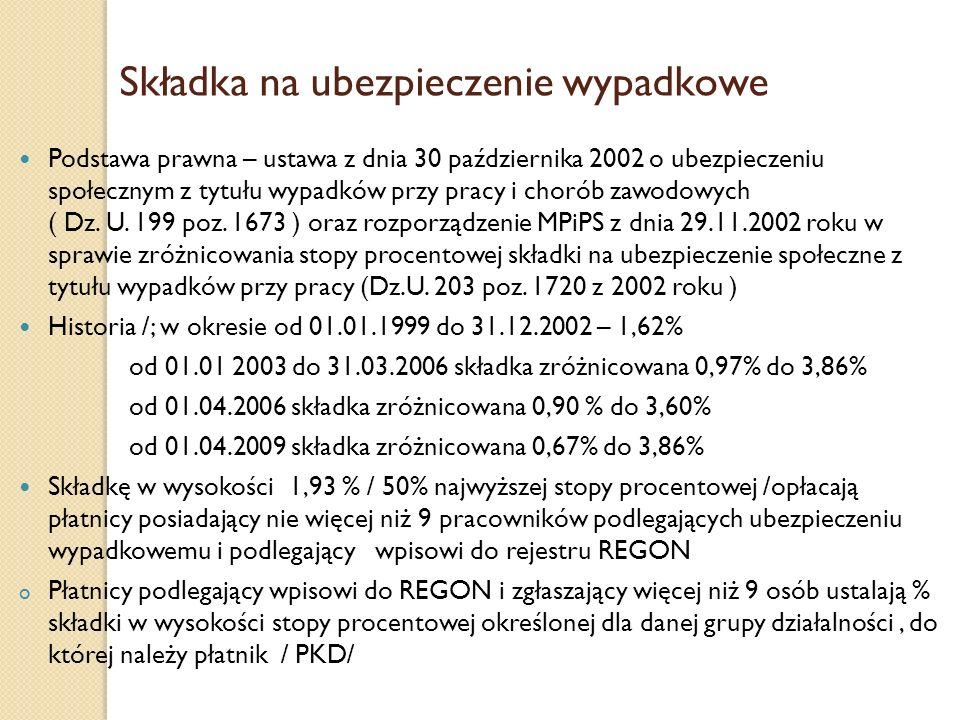Składka na ubezpieczenie wypadkowe Podstawa prawna – ustawa z dnia 30 października 2002 o ubezpieczeniu społecznym z tytułu wypadków przy pracy i chor