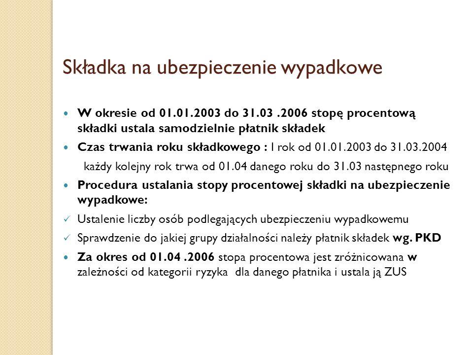 Składka na ubezpieczenie wypadkowe W okresie od 01.01.2003 do 31.03.2006 stopę procentową składki ustala samodzielnie płatnik składek Czas trwania rok