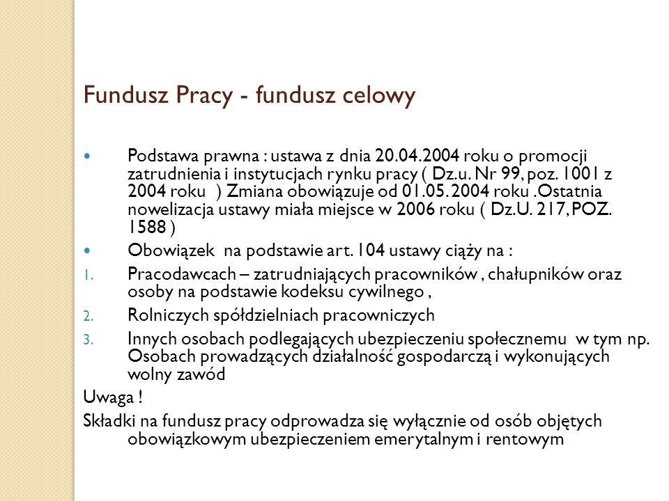 Fundusz Pracy - fundusz celowy Podstawa prawna : ustawa z dnia 20.04.2004 roku o promocji zatrudnienia i instytucjach rynku pracy ( Dz.u. Nr 99, poz.