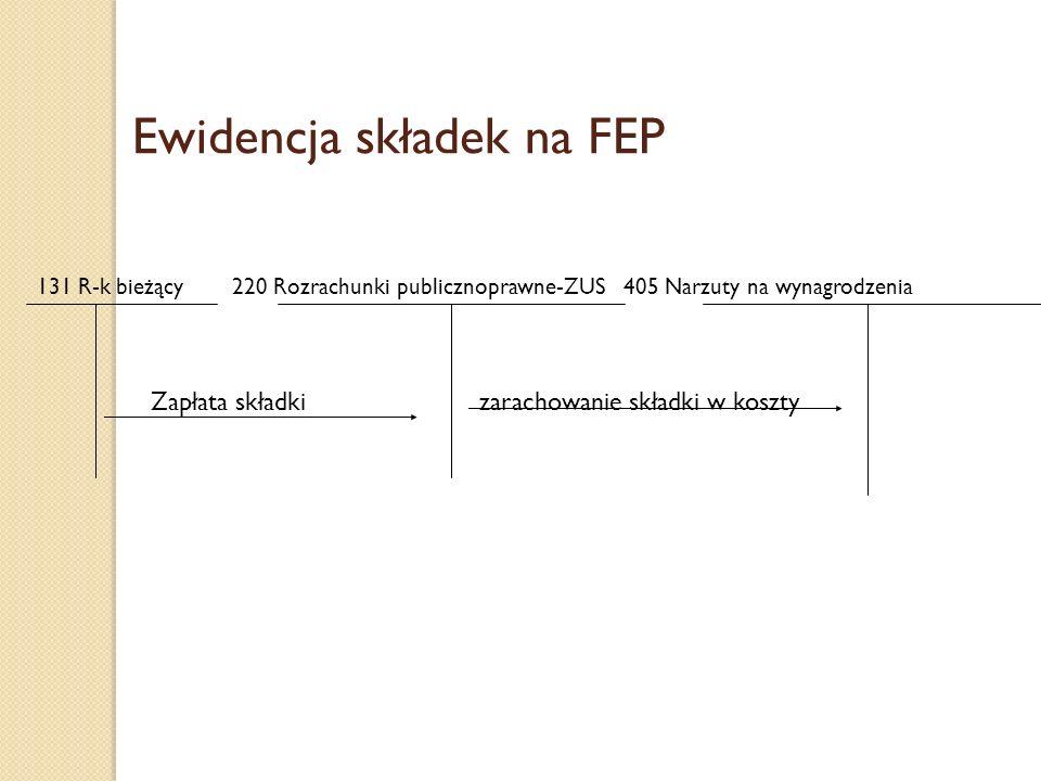Ewidencja składek na FEP 131 R-k bieżący 220 Rozrachunki publicznoprawne-ZUS 405 Narzuty na wynagrodzenia Zapłata składki zarachowanie składki w koszt
