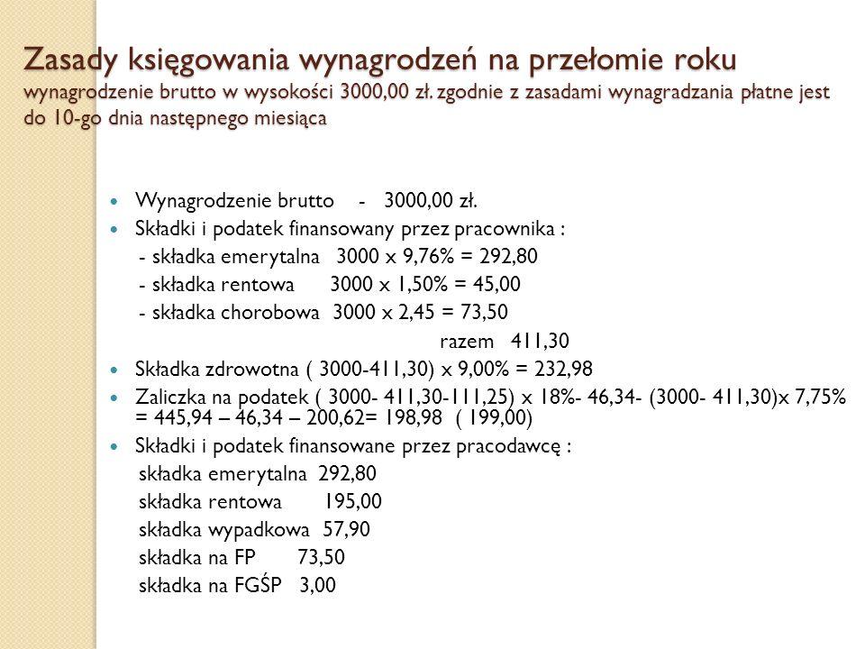 Zasady księgowania wynagrodzeń na przełomie roku wynagrodzenie brutto w wysokości 3000,00 zł. zgodnie z zasadami wynagradzania płatne jest do 10-go dn