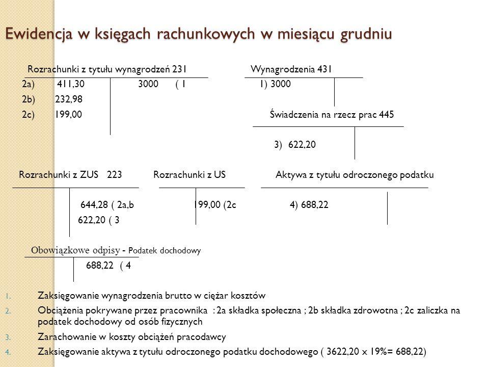 Ewidencja w księgach rachunkowych w miesiącu grudniu Rozrachunki z tytułu wynagrodzeń 231 Wynagrodzenia 431 2a) 411,30 3000 ( 1 1) 3000 2b) 232,98 2c)