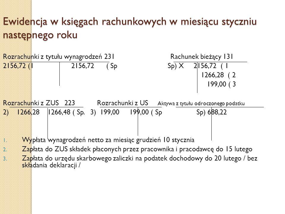 Ewidencja w księgach rachunkowych w miesiącu styczniu następnego roku Rozrachunki z tytułu wynagrodzeń 231 Rachunek bieżący 131 2156,72 (1 2156,72 ( S
