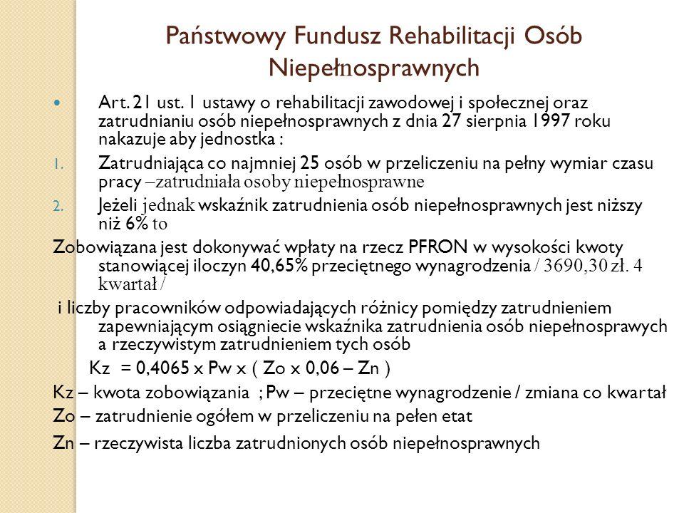 Państwowy Fundusz Rehabilitacji Osób Niepeł n osprawnych Art. 21 ust. 1 ustawy o rehabilitacji zawodowej i społecznej oraz zatrudnianiu osób niepełnos