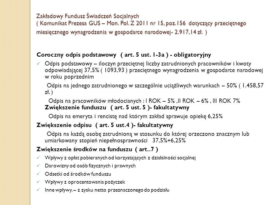 Zakładowy Fundusz Świadczeń Socjalnych ( Komunikat Prezesa GUS – Mon. Pol. Z 2011 nr 15, poz.156 dotyczący przeciętnego miesięcznego wynagrodzenia w g
