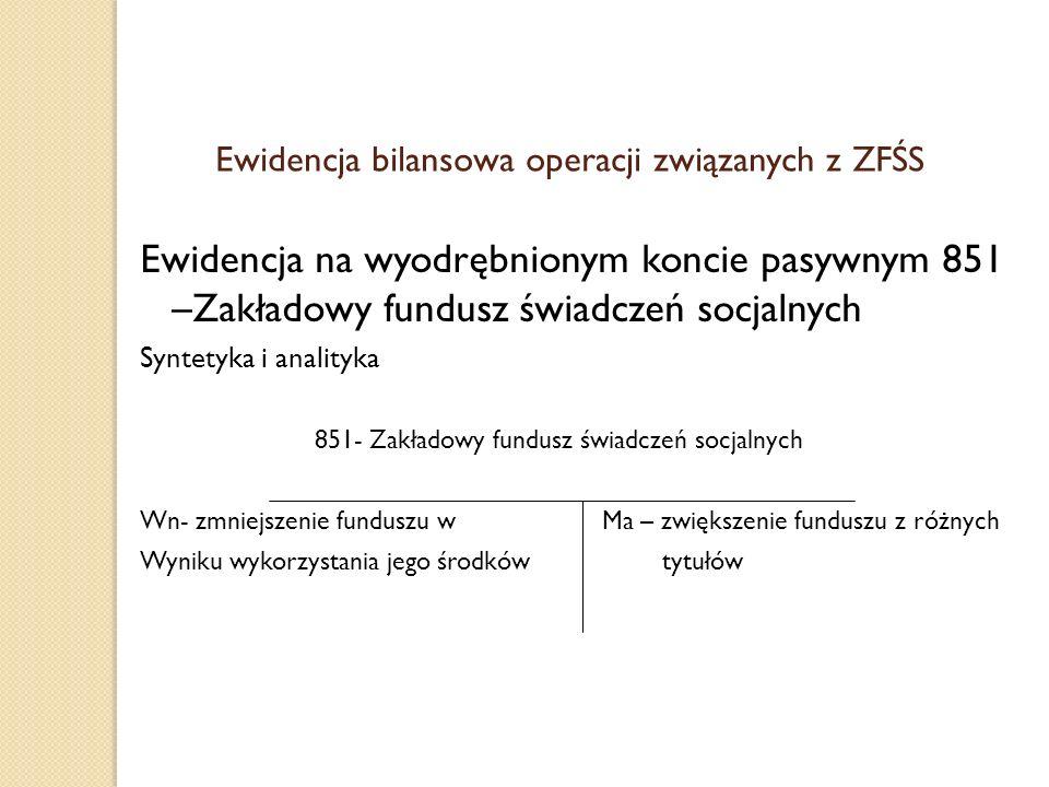 Ewidencja bilansowa operacji związanych z ZFŚS Ewidencja na wyodrębnionym koncie pasywnym 851 –Zakładowy fundusz świadczeń socjalnych Syntetyka i anal