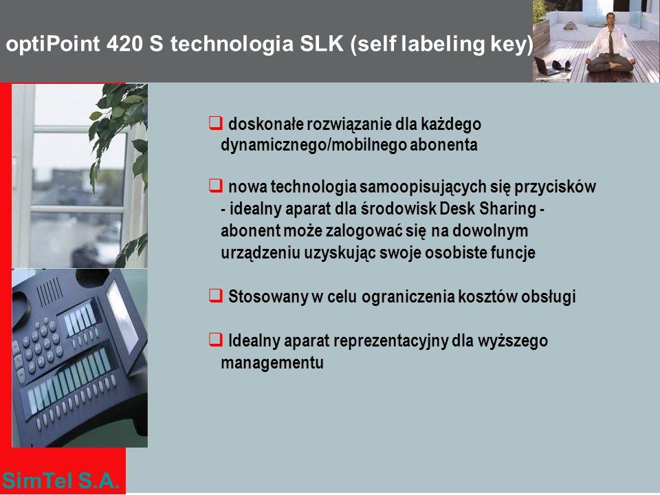 SimTel S.A. optiPoint 420 S technologia SLK (self labeling key) doskonałe rozwiązanie dla każdego dynamicznego/mobilnego abonenta nowa technologia sam