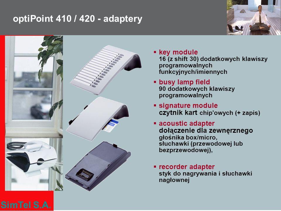 SimTel S.A. optiPoint 410 / 420 - adaptery key module 16 (z shift 30) dodatkowych klawiszy programowalnych funkcyjnych/imiennych busy lamp field 90 do
