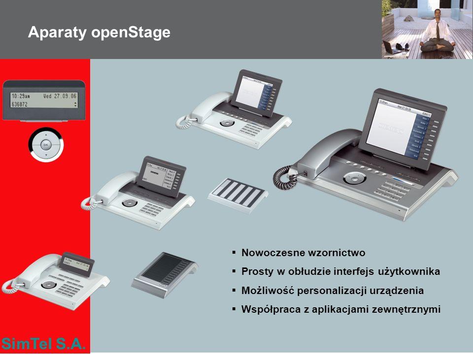 SimTel S.A. Aparaty openStage Nowoczesne wzornictwo Prosty w obłudzie interfejs użytkownika Możliwość personalizacji urządzenia Współpraca z aplikacja