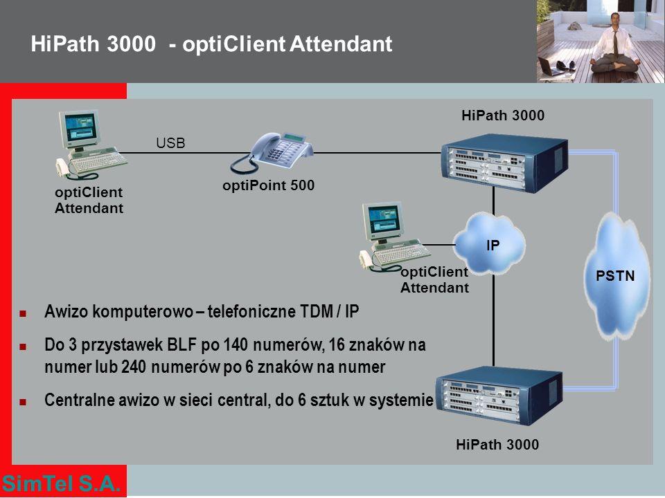 SimTel S.A. optiClient Attendant HiPath 3000 IP HiPath 3000 Awizo komputerowo – telefoniczne TDM / IP Do 3 przystawek BLF po 140 numerów, 16 znaków na