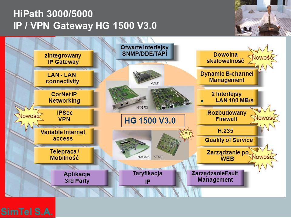 SimTel S.A. HiPath 3000/5000 IP / VPN Gateway HG 1500 V3.0 zintegrowany IP Gateway CorNet IP Networking Zarządzanie po WEB ZarządzanieFault Management