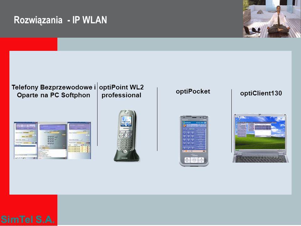SimTel S.A. Rozwiązania - IP WLAN Telefony Bezprzewodowe i Oparte na PC Softphon optiClient130 optiPoint WL2 professional optiPocket