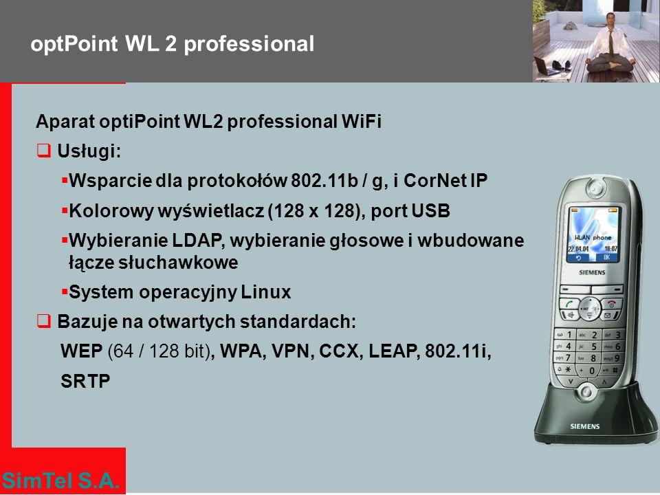 SimTel S.A. optPoint WL 2 professional Aparat optiPoint WL2 professional WiFi Usługi: Wsparcie dla protokołów 802.11b / g, i CorNet IP Kolorowy wyświe