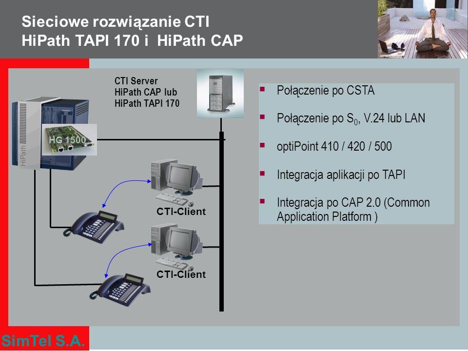 SimTel S.A. Połączenie po CSTA Połączenie po S 0, V.24 lub LAN optiPoint 410 / 420 / 500 Integracja aplikacji po TAPI Integracja po CAP 2.0 (Common Ap