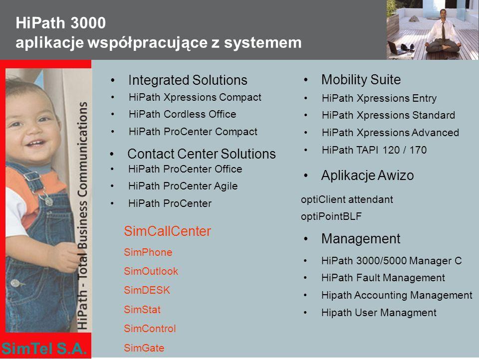 SimTel S.A. HiPath 3000 aplikacje współpracujące z systemem Contact Center Solutions HiPath ProCenter Office HiPath ProCenter Agile HiPath ProCenter M