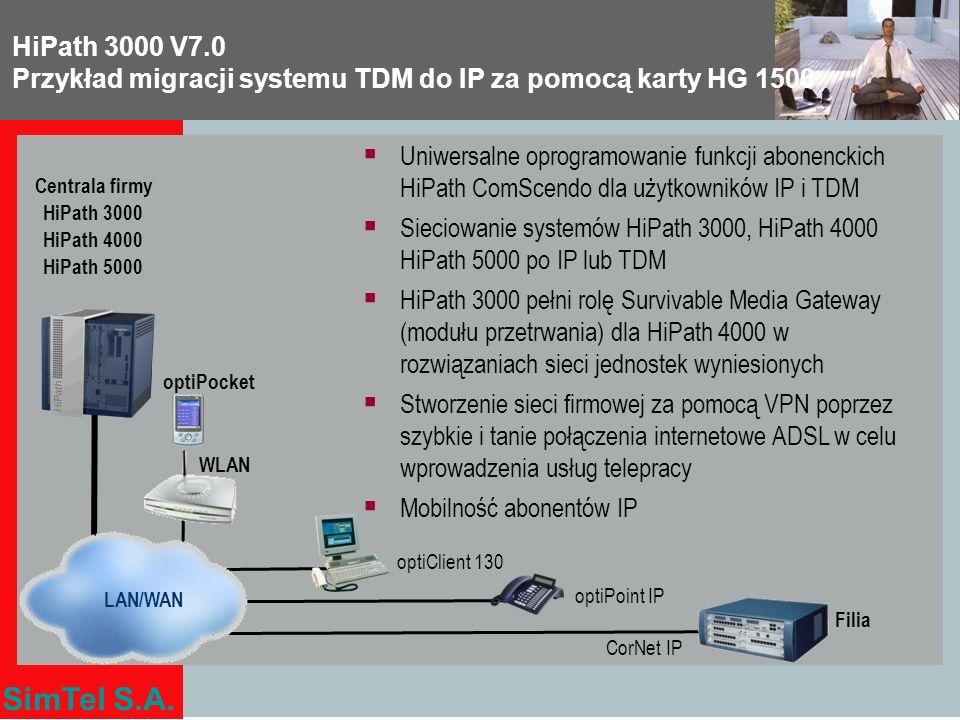 SimTel S.A. Filia LAN/WAN Centrala firmy HiPath 3000 HiPath 4000 HiPath 5000 optiPoint IP optiPocket optiClient 130 WLAN Uniwersalne oprogramowanie fu