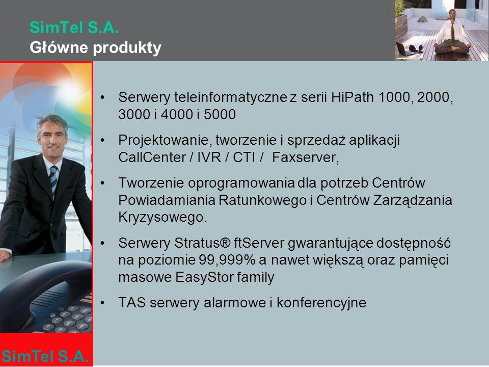 SimTel S.A. SimTel S.A. Główne produkty Serwery teleinformatyczne z serii HiPath 1000, 2000, 3000 i 4000 i 5000 Projektowanie, tworzenie i sprzedaż ap