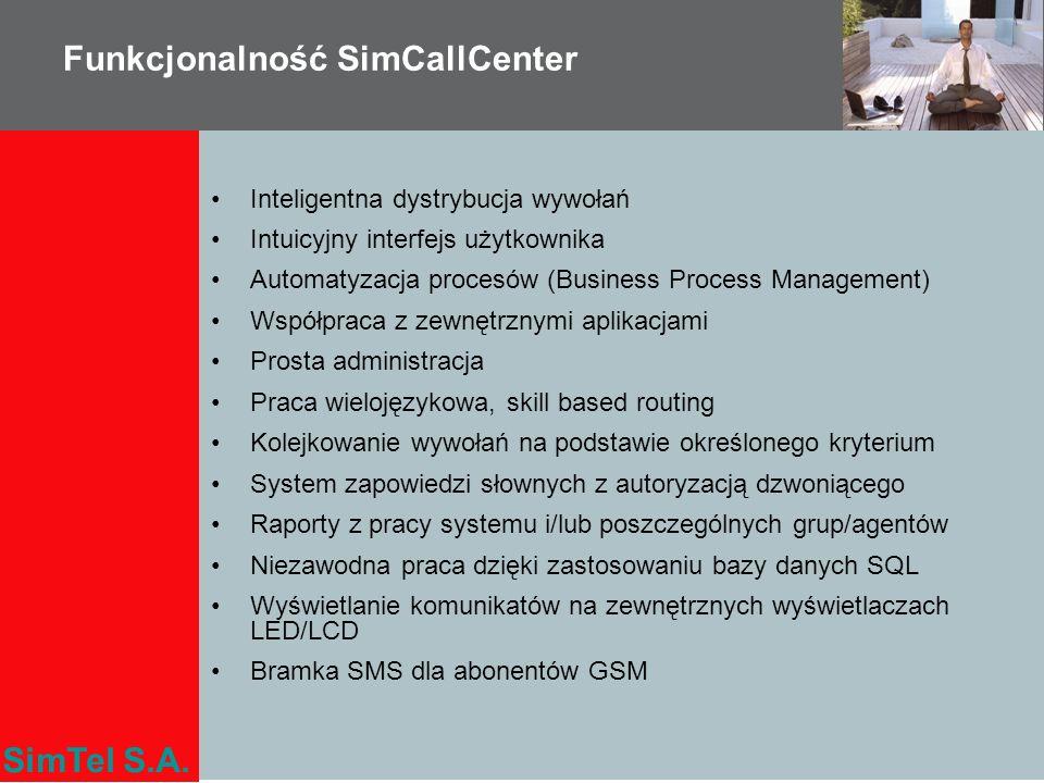 SimTel S.A. Funkcjonalność SimCallCenter Inteligentna dystrybucja wywołań Intuicyjny interfejs użytkownika Automatyzacja procesów (Business Process Ma
