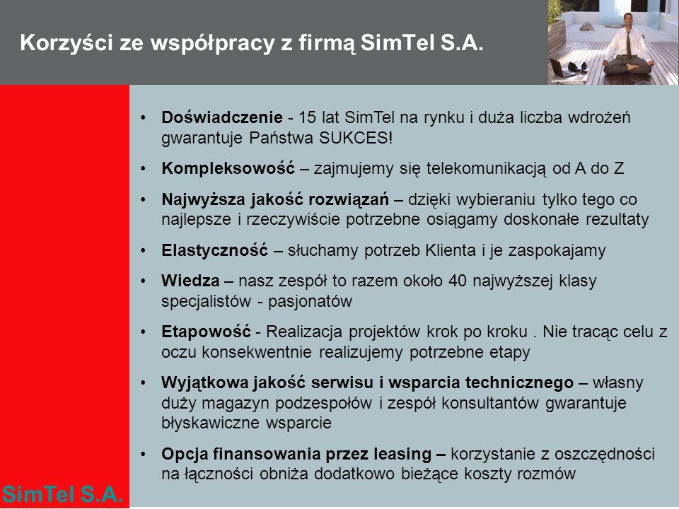 SimTel S.A. Korzyści ze współpracy z firmą SimTel S.A. Doświadczenie - 15 lat SimTel na rynku i duża liczba wdrożeń gwarantuje Państwa SUKCES! Komplek