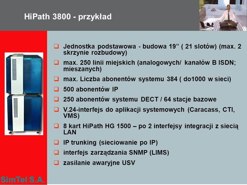 SimTel S.A. Jednostka podstawowa - budowa 19 ( 21 slotów) (max. 2 skrzynie rozbudowy) max. 250 linii miejskich (analogowych/ kanałów B ISDN; mieszanyc
