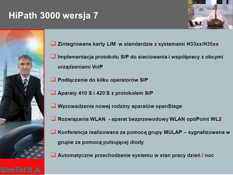 SimTel S.A. HiPath 3000 wersja 7 Zintegrowane karty LIM w standardzie z systemami H33xx/H35xx Implementacja protokołu SIP do sieciowania i współpracy
