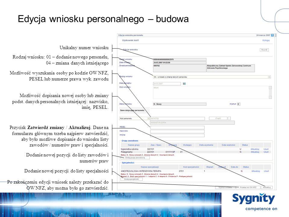 Edycja wniosku personalnego – budowa Unikalny numer wniosku Możliwość wyszukania osoby po kodzie OW NFZ, PESEL lub numerze prawa wyk.