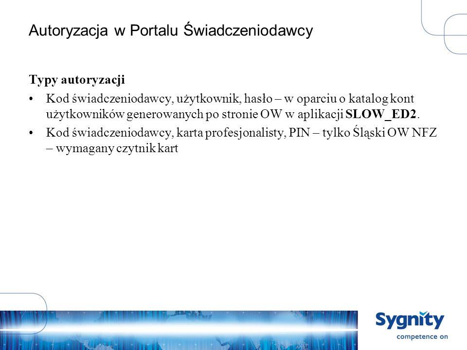 Autoryzacja standardowa - Świadczeniodawca W przeglądarce w pasku adresu wpisz adres do strony Portalu Świadczeniodawcy.