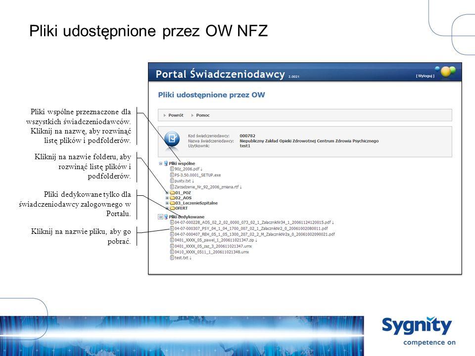 Pliki udostępnione przez OW NFZ Pliki wspólne przeznaczone dla wszystkich świadczeniodawców.
