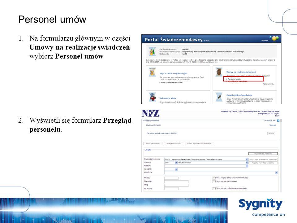 Edycja wniosku zatrudnienia w komórce – budowa Unikalny numer wniosku Możliwość wyszukania osoby po kodzie OW NFZ, PESEL lub numerze prawa wyk.