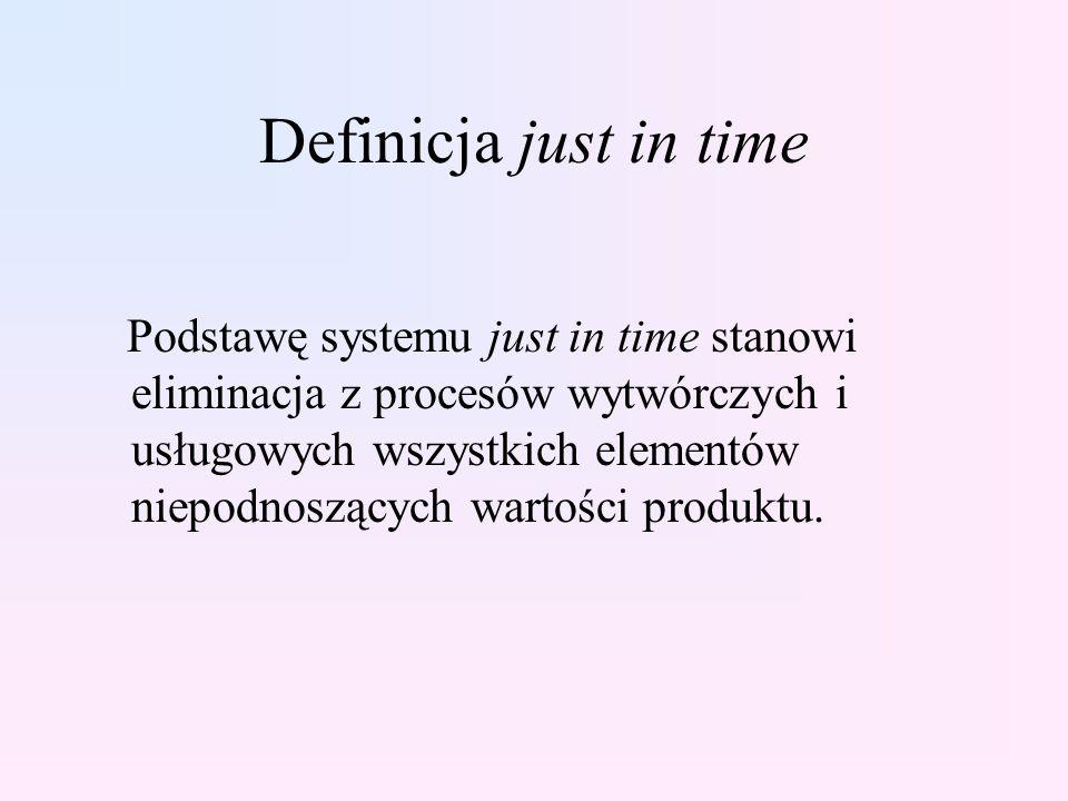 Definicja just in time Podstawę systemu just in time stanowi eliminacja z procesów wytwórczych i usługowych wszystkich elementów niepodnoszących warto