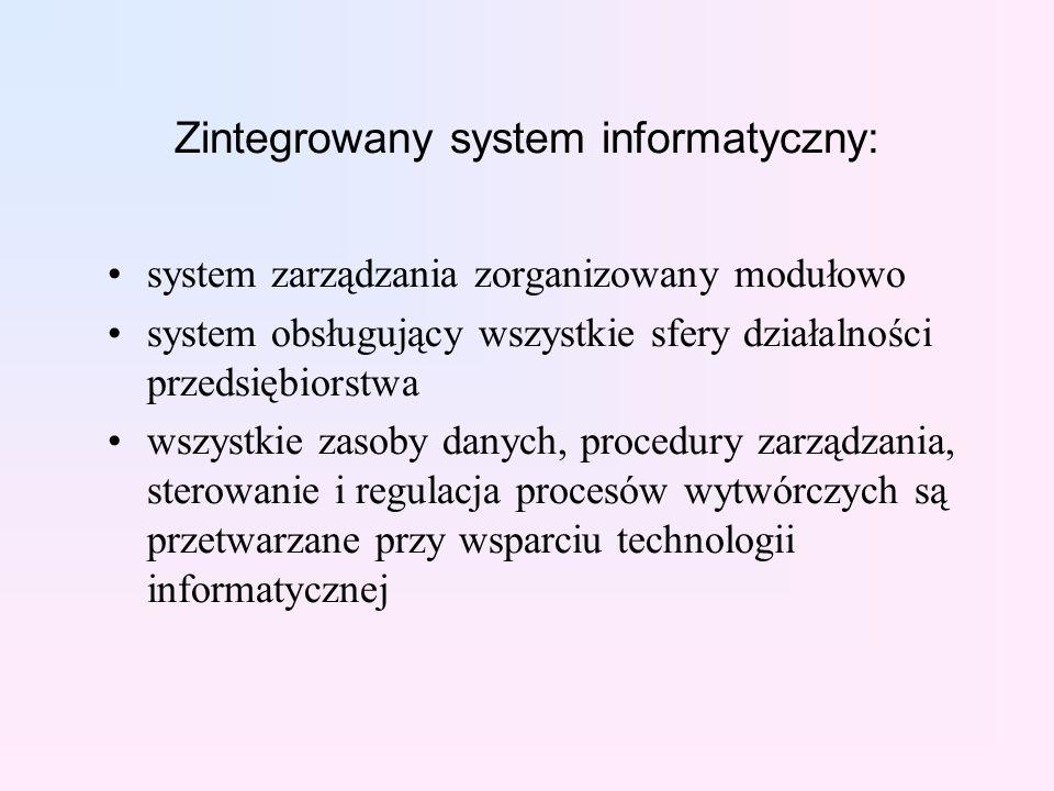 Zintegrowany system informatyczny: system zarządzania zorganizowany modułowo system obsługujący wszystkie sfery działalności przedsiębiorstwa wszystkie zasoby danych, procedury zarządzania, sterowanie i regulacja procesów wytwórczych są przetwarzane przy wsparciu technologii informatycznej