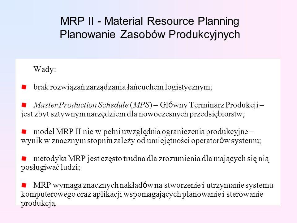 Wady: brak rozwiązań zarządzania łańcuchem logistycznym; Master Production Schedule (MPS) – Gł ó wny Terminarz Produkcji – jest zbyt sztywnym narzędzi